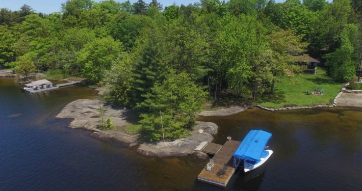 Cottage lake arial view